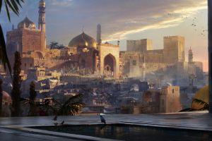 artwork landscape palace oriental arabian city middle east