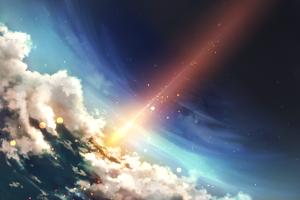 artwork lights clouds sky