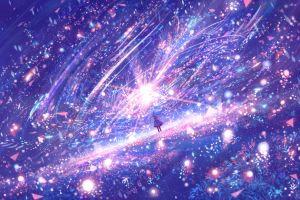 artwork lights digital art plants magic anime