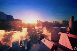 artwork painting sunset city