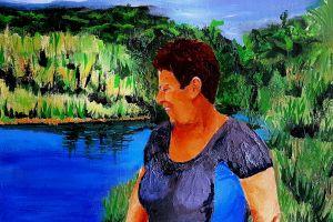 artwork painting women nature