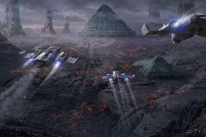 artwork pyramid science fiction