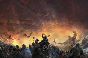artwork sky battle fantasy art war