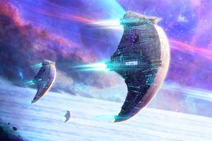 artwork stars planet spaceship