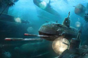 artwork submarine vehicle military