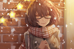 artwork wall digital art women anime girls anime snowing bricks illustration original characters lights glasses women with glasses