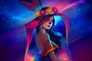 artwork women dia de los muertos colorful