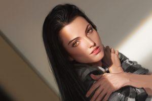 artwork women indoors face women dark hair