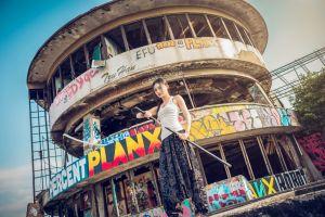 asian abandoned braids women outdoors brunette looking at viewer katana graffiti model tank top pants necklace