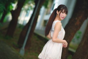 asian asian dress looking at viewer brunette depth of field women model trees ponytail