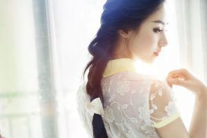 asian braided hair looking back women eyeliner backlighting model braids long hair photography