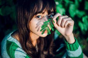 asian depth of field face women brunette model sweater eyes bokeh looking at viewer women outdoors portrait