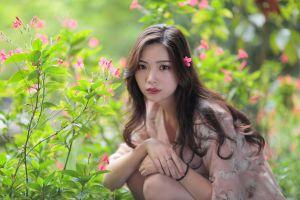 asian green plants model women outdoors flowers women