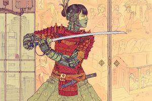 asian josan gonzalez cyberpunk fan art science fiction fantasy art digital art illustration samurai futuristic