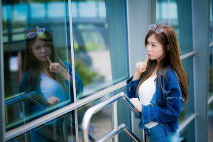 asian long hair reflection women window