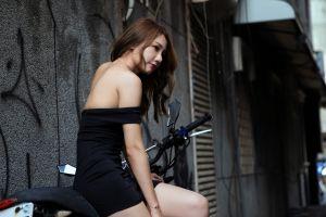 asian model motorcycle sitting bare shoulders women women outdoors brunette minidress looking into the distance black dress