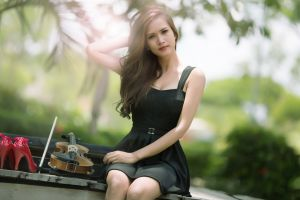asian musical instrument looking at viewer sitting photography dress women violin model arms up portrait women outdoors red heels  long hair