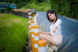 asian shirt model women outdoors women smiling squatting brunette