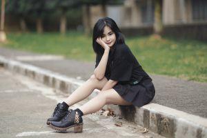 asian sitting legs dark hair women