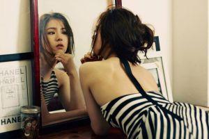 asian women mirror reflection women indoors model photography face