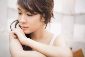 asian women thinking portrait looking away brunette eyeliner long hair
