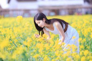 asian women white dress brunette photography field long hair long skirt model women outdoors yellow flowers