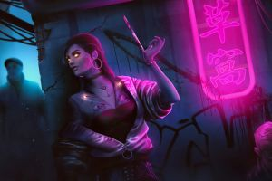 assassins  women neon lights cyberpunk dark