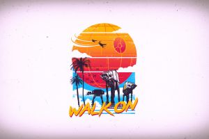 at-at star wars simple background palm trees death star imperial forces
