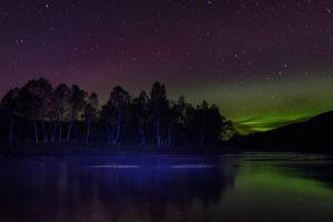 aurorae landscape long exposure norway stars night trees reflection nature lake forest