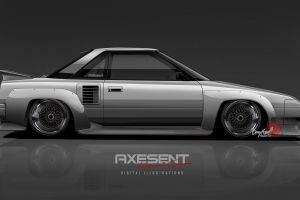 axesent creations japanese cars toyota side view jdm toyota mr2 aw11 toyota mr2 render silver cars
