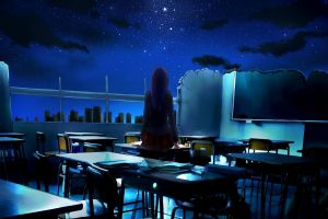 back anime girls night classroom school uniform night sky looking into the distance