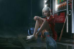bag rui li rain artwork coca-cola women cats white hair digital art baseball bat street vending machine choker
