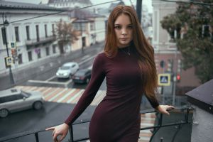 balcony portrait necklace dress photography standing outdoors model women bokeh depth of field looking at viewer