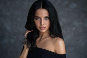 bare shoulders portrait simple background looking at viewer hands in hair women black hair