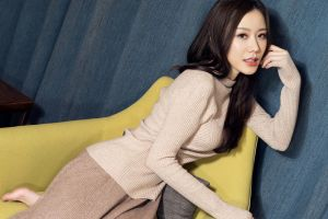 barefoot photography couch model black hair looking at viewer long hair pullover hand on face women asian