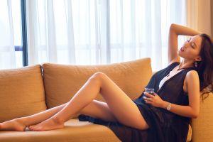barefoot women brunette model jewelry legs asian photography feet