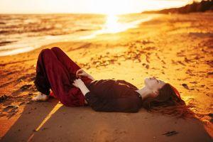 barefoot women sunset photography brunette beach model