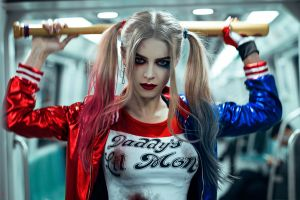 baseball bat harley quinn pigtails tim rise cosplay suicide squad subway