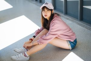 baseball caps women adidas looking at viewer brunette watch jean shorts sweatshirts model asian sitting sneakers