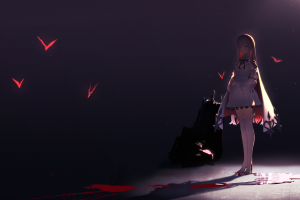 bats blue background blood standing red eyes cape white hair high heels dark original characters thighhighs  anime girls long hair shadow anime