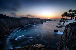 bay coast sea long exposure landscape cliff sunset dark nature