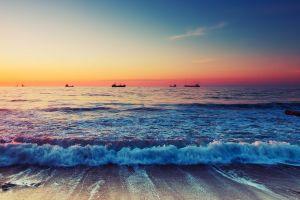 beach sun horizon sunrise sea ship