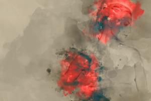 beige watercolor beige background portrait red