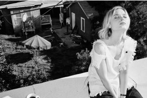 bella heathcote model monochrome blonde closed eyes women outdoors