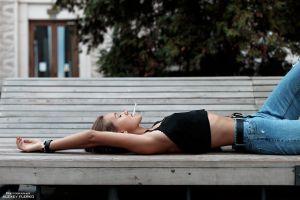 belly cigarettes bench alexey flerko brunette women jeans smoking