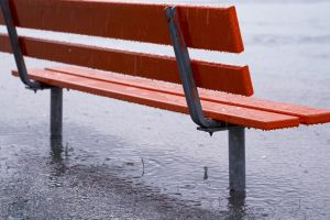 bench water drops rain outdoors