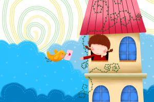 birds house children illustration
