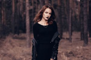 black clothing leather jackets forest necklace outdoors portrait trees dark lipstick depth of field nature model dress looking at viewer black lipstick women outdoors
