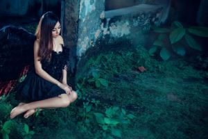 black clothing photography women long hair barefoot asian model brunette black dress red lipstick angel wings