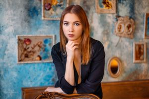black clothing women blue eyes vladimir talantcev wall portrait painted nails black clothes